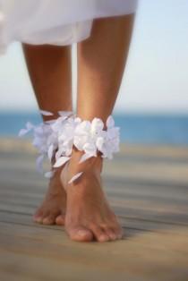 wedding photo - Thyrsi  barefoot sandal, beach wedding barefoot sandals, bangle, wedding anklet,nude shoes,ankle cuff