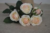wedding photo - Blush Real Touch Silk Roses Spray DIY Wedding Centerpieces Silk Bouquets-5 flowers each spray