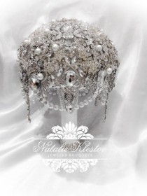 wedding photo - The White Silver Art Deco Deluxe Brooch Bouquet. FULL PRICE on Great Gatsby Vintage Diamond Jeweled Crystal Pearl Broach Bouquet