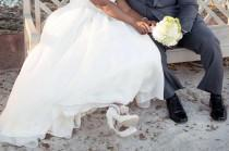 wedding photo - White Lace Wedding Shoes with Pearls
