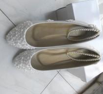 wedding photo - 30% Off White Lace Flowers Women Wedding Shoes Flat Heels Big Size Foot Ring Bridesmaid Shoes Size Eu33-44