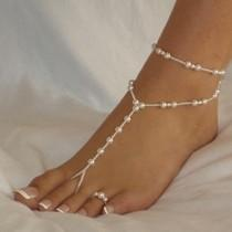 wedding photo - Pearl Barefoot Sandal Wedding barefoot sandals, Bridesmaid barefoot sandals, Bridesmaid jewellery, Beach wedding, Beach sandal