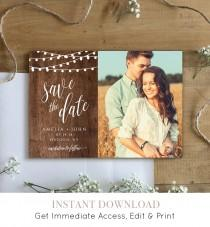 wedding photo - Rustic Save the Date Template, Printable Photo Card, 100% Editable, String Lights & Wood Background, Instant Download, Templett #014-205SD