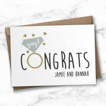wedding photo - Personalised engagement card, congratulations card, wedding card