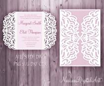 wedding photo - Wedding invitation 5x7'' Gate fold Card Template, Quinceanera Invitation, laser cut, SVG cutting file, Silhouette Cameo, Cricut