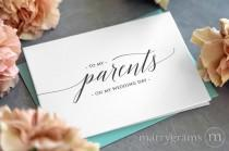 wedding photo - Wedding Card to Your Parents - On My Wedding Day Keepsake Thank You Cards - Special Note to go w Gift for Parents of the Bride or Groom CS13