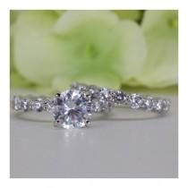 wedding photo - 2.00 Ct. Absolutely Stunning Classic Eternity Fine Quality Cubic Zirconia Engagement Ring Set In Sterling Silver, Wedding Ring Set