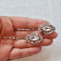 wedding photo - Set of 2 Gorgeous Handmade Art Deco Fancy Cut Crystal Rhinestone Bridal Hair Pins, Bridal, Wedding (Sparkle-2709-H)