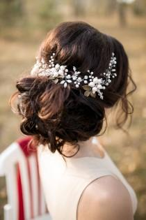 wedding photo - Bridal Headpiece, Bridal Hair Vine, Crystal Pearl Wedding Hairpiece, Wedding hair vine, Wedding hair accessories, Bridal Wreath, Hairpiece