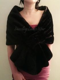 wedding photo - 1920's Style Black Soft Faux Fur Stole / Wrap / Shawl / Bolero / Shrug - Satin Lining - Gatsby/Peaky Blinder/Prohibition