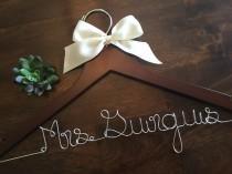 wedding photo - Sale Personalized Wedding Hanger Bridal Hanger Bride Hanger with Custom Wire Name Hanger Wedding Dress Hanger