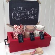 wedding photo - Hot Chocolate Bar Station (Basic), Hot Cocoa Bar,  Tabletop Mason Jar Wood Planter Box