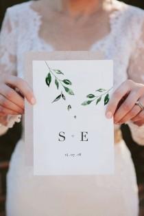 wedding photo - Minimal Leaf Wedding Invitation, double sided printable wedding invitation, foliage, classic invitation, modern wedding, chic wedding