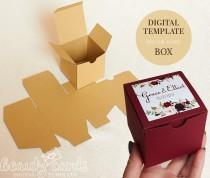 wedding photo - Gift box template DIY SVG, square box, wedding favor box, party favor box, shower favor box,  (Svg Ai Dxf Cdr) Laser cut file Cameo Cricut