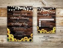 wedding photo - Rustic Sunflower Wedding Invitation, Vintage Wedding Invite, RSVP, Sunflower Wedding, String Light Wedding, Country Barn, DIY, Printable