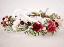 wedding photo - Ready to Ship! Burgundy and Blush Flower Crown, Burgundy and Blush Winter crown, Burgundy headband. Frosty Winter flower crown