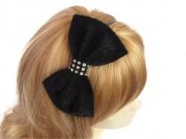 wedding photo - Bow headband, Black velvet headband, Black velvet bow headband with rhinestone piece, Black Velvet Hairbow Hair Bow Headband