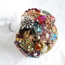 wedding photo - Bridal All Brooch Wedding Bouquet  Deposit - DEPOSIT Vintage, heirloom, artificial bouquet jewel bouquet Medium