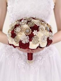 wedding photo - Burgundy brooch bouquet Broach bouquet Wedding bouquet Burgundy & Ivory roses Bridal bouquet Burgundy bouquet Wine Bouquet Jewelry bouquet