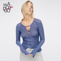 wedding photo - Vogue Seen Through Hollow Out Jersey One Color T-shirt - Bonny YZOZO Boutique Store