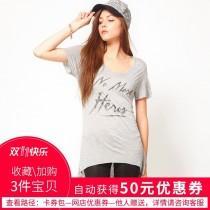 wedding photo - Oversized Printed Scoop Neck High Low Alphabet Grey Short Sleeves T-shirt - Bonny YZOZO Boutique Store