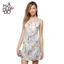 wedding photo - Sexy chest strap hanging neck slit cut floral chiffon dress Halter dress - Bonny YZOZO Boutique Store