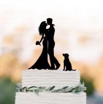 wedding photo - silhouette Wedding Cake topper with dog, custom dog cake topper for wedding, Bride and groom cake topper