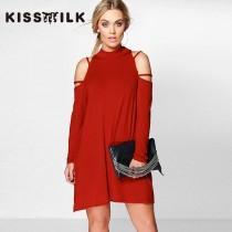 wedding photo - Vogue Plus Size Off-the-Shoulder One Color 9/10 Sleeves Dress - Bonny YZOZO Boutique Store
