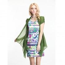 wedding photo - Printed Slimming Bubble Sleeves Short Sleeves Green Twinset Dress - Bonny YZOZO Boutique Store