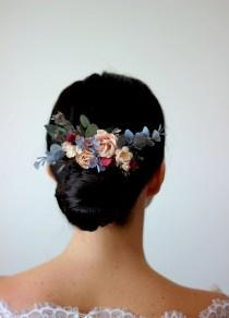wedding photo - Blue peach flower comb Floral headpiece Bridal comb Flower accessories Bridesmaid comb Hair clip  Wedding hair piece Outdoor wedding