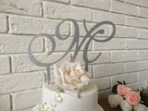 wedding photo - Silver glitter cake topper initial, wooden cake topper, gold, blue, gold glitter, plum, pale pink, champagne, wedding cake sign- cake topper
