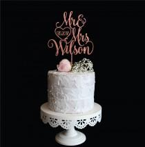 wedding photo - Rose Gold Mr & Mrs Wedding Cake Topper with Last name and Date