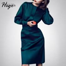 wedding photo - Vintage Attractive Slimming Scoop Neck High Waisted It Girl Spring 9/10 Sleeves Dress - Bonny YZOZO Boutique Store