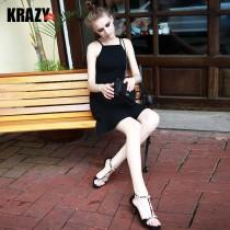 wedding photo - Attractive Slimming Flexible Frilled Strap Dress Black Mini Dress - Bonny YZOZO Boutique Store