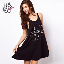 wedding photo - Must-have Vogue Printed Alphabet Summer Black Sleeveless Top Dress - Bonny YZOZO Boutique Store