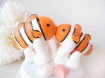 wedding photo - Custom Wedding Cake Toppers - Clown fish NEMO with base