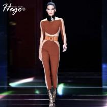wedding photo - Night Club Vogue Seen Through Hollow Out 9/10 Sleeves Formal Wear Jumpsuit - Bonny YZOZO Boutique Store