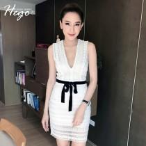 wedding photo - Sexy Attractive Slimming V-neck White It Girl Lace Formal Wear Dress - Bonny YZOZO Boutique Store
