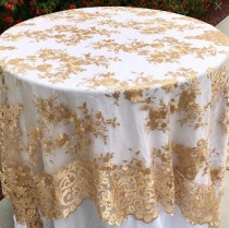 wedding photo - Lace table overlay, Gold embroidered lace table overlay, lace tablecloth, gold tablecloth, weddings, wedding decor, glam wedding, cake table