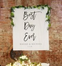 wedding photo - Best Day Ever Wedding Photo Backdrop, Ceremony Backdrop, Calligraphy Wedding Reception Backdrop, Rustic Wedding Decor, Pinterest Backdrop