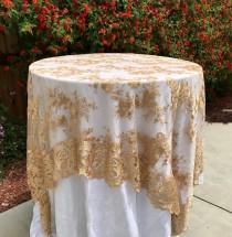 wedding photo - Lace tablecloth, gold table overlay, lace table overlay, table overlay, table runner, embroidered, gold tablecloth, table cloth, cake table