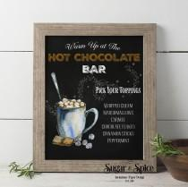 wedding photo - Signature Drinks Sign, Hot Cocoa Bar Printable, Hot Chocolate Bar Sign, Christmas Wedding, Winter Wedding, Chalkboard, Party Sign