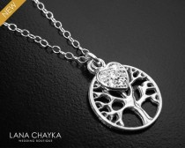 wedding photo - Tree of Life Sterling Silver Necklace, Mother of The Bride Gift Necklace, Gift for Mom, Wedding Necklace, Mother of the Groom Gift Necklace