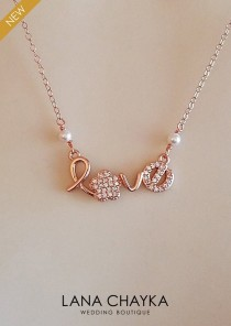 wedding photo - Rose Gold Love Necklace, Love Pendant Necklace, Dainty CZ Love Necklace, Love Script Necklace, Swarovski Pearl Love Necklace Love CZ Pendant
