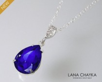 wedding photo - Blue Crystal Teardrop Necklace, Swarovski Majestic Blue Silver CZ Pendant, Bridesmaids Cobalt Jewelry, Bridal Royal Blue Necklace, Weddings
