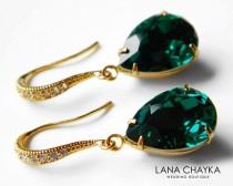 wedding photo - Emerald Green Crystal Earrings Swarovski Emerald Rhinestone Vermeil Gold CZ Earrings Wedding Earrings Bridal Bridesmaid Teardrop Earrings