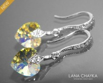 wedding photo - Aurora Borealis Heart Crystal Small Earrings AB Silver Crystal Wedding Earrings Swarovski 10mm Crystal Heart Dangle Earrings Bridal Jewelry