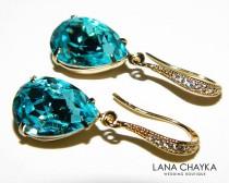wedding photo - Light Turquoise Crystal Gold Earrings Swarovski Light Turquoise Earrings Teal Turquoise Rhinestone Teardrop Earrings Wedding Earrings