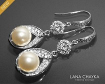 wedding photo - Bridal Ivory Pearl CZ Chandelier Earrings Swarovski Cream Pearl Silver Wedding Earrings Bridal Pearl Dangle Earrings Bridesmaids Earrings