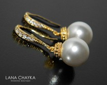 wedding photo - White Pearl Gold Earrings, Pearl Drop Wedding Earrings, Swarovski 10mm Pearl Earrings, Pearl Dangle Earrings Bridal Bridesmaid Pearl Jewelry
